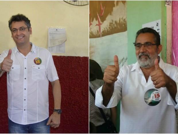 Clécio Luís e Gilvam Borges vão para o segundo turno em Macapá (Foto: Abinoan Santiago; Jéssica Alves/G1)