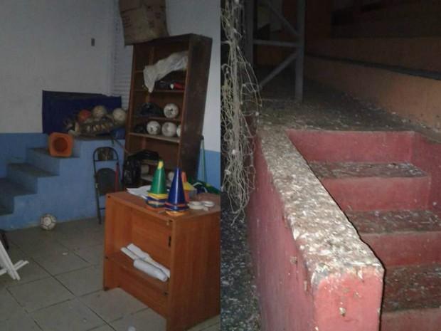 Há sujeira de pombos e materias abandonados no ginásio em Itariri (Foto: Flaviana Martins/Arquivo Pessoal)