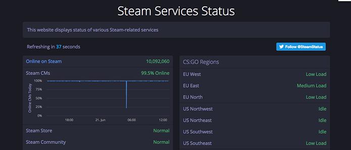 Abra o site Steam Status (Foto: Reprodução/Murilo Molina)