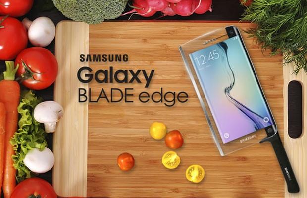 Samsung lança o Galaxy Blade Edge, um smartphone com faca embutida, no 1º de abril. (Foto: Divulgação/Samsung)