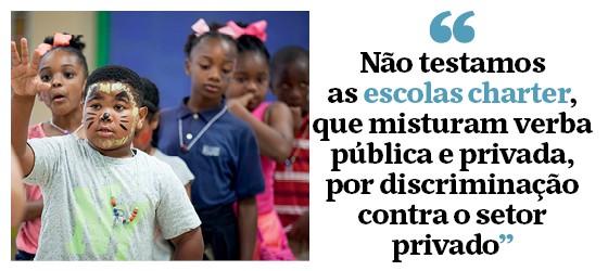 """""""Não testamos  as escolas charter,  que misturam verba pública e privada, por discriminação contra o setor privado"""" (Foto: Melanie Stetson Freeman/The Christian Science Monitor)"""