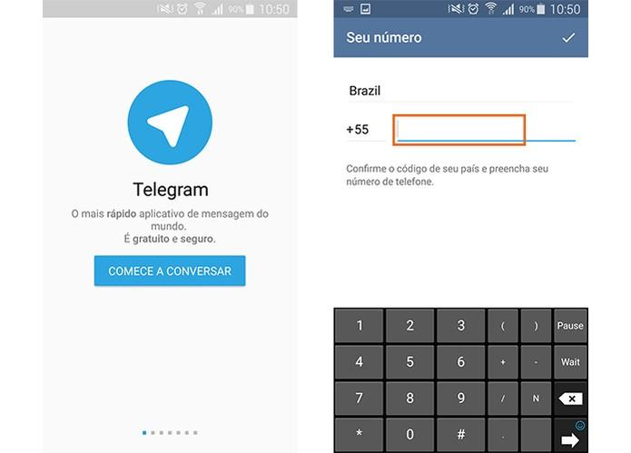 Crie uma conta no Telegram com o número do celular (Foto: Reprodução/Barbara Mannara)