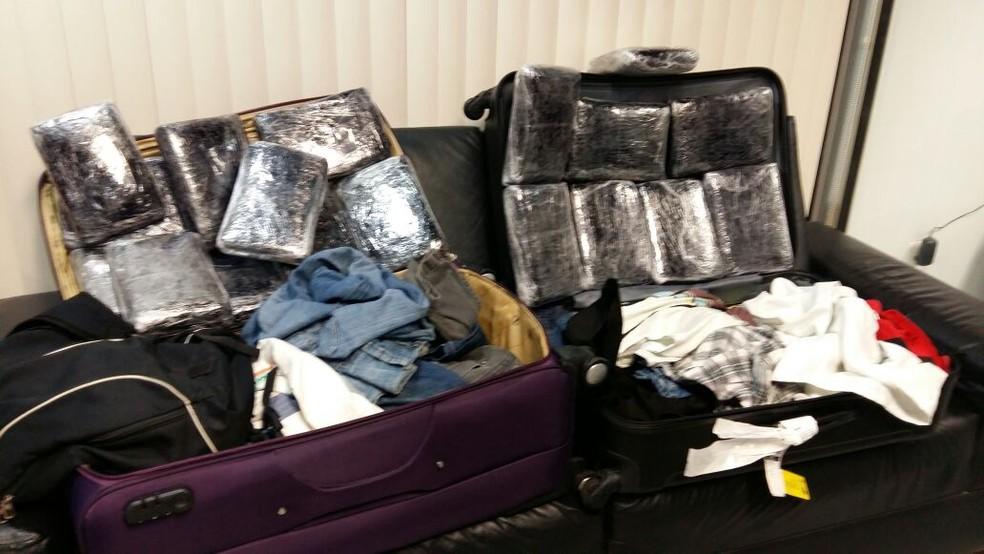 Droga sintética estava escondida nas malas dos dois homens (Foto: Divulgação/Polícia Federal)