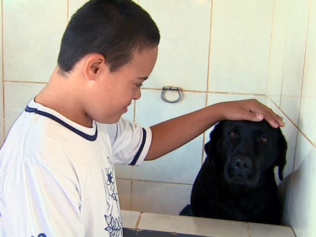 Cães ajudam a desenvolver coordenação motora de portadores da síndrome da Down (Foto: Reprodução/EPTV)