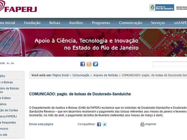 Site da Faperj afirma que as bolsas atrasadas serão pagas em abril (Foto: Reprodução/ Faperj.br)