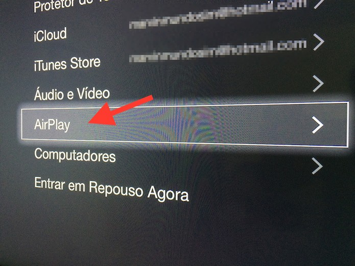 Acessando as configurações de AirPlay da Apple TV (Foto: Reprodução/Marvin Costa)