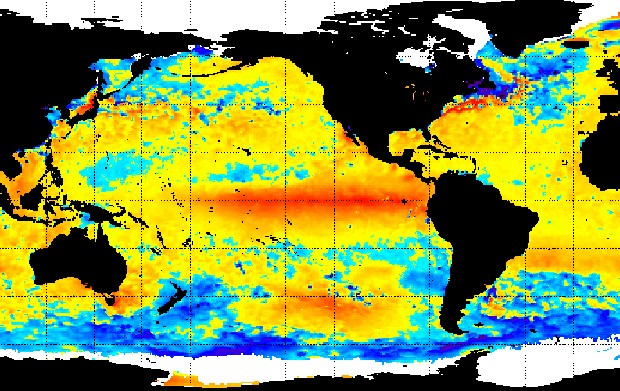 Mancha vermelha em mapa de temperaturas anômalas mostra extensão do El Niño 2015/16 (Foto: NOAA)