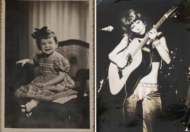 Rita Lee, ainda bebê. Ao lado, foto de show do início dos anos 70 (Foto: Reprodução/Facebook)