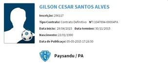 Gilson está apto para jogar pelo Paysandu (Foto: Reprodução/ CBF)