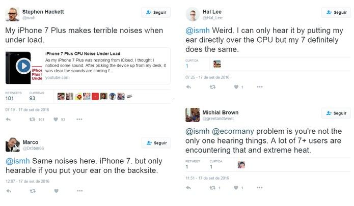 No Twitter, usuários reclamam de chiado no iPhone 7 (Foto: Reprodução/Aline Batista)