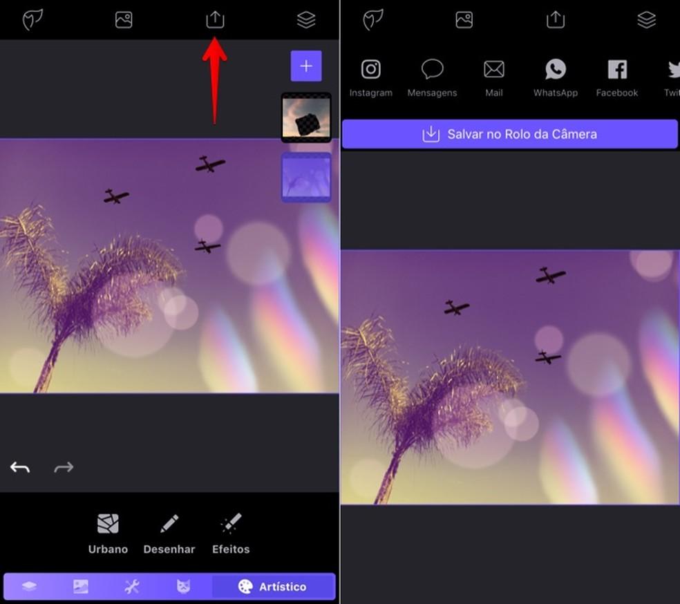 Exportando imagem editada (Foto: Reprodução/Helito Bijora)