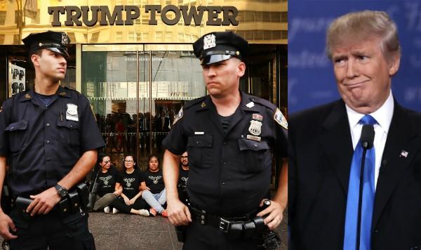 O presidente Donald Trump e o policiamento em frente à Trump Tower de Nova York (Foto: Getty Images)
