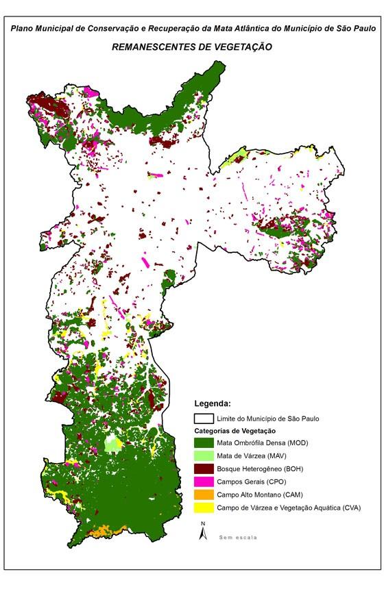 Mapa mostra os remanescentes de Mata Atlântica no município de São Paulo (Foto: Reprodução/PMMA)