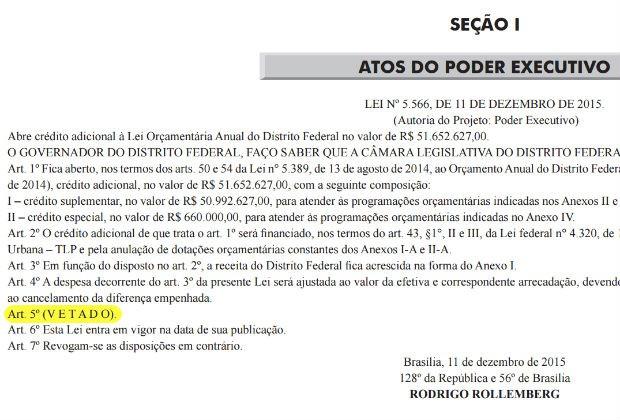Lei sancionada acatou o valor de R$ 31 milhões, mas vetou artigo que previa exceção ao cronograma de pagamentos (Foto: Diário Oficial do DF/Reprodução)