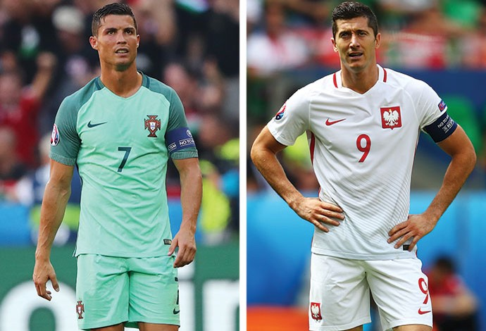 MONTAGEM - Cristiano Ronaldo e Lewandowski (Foto: Agência Getty Images)