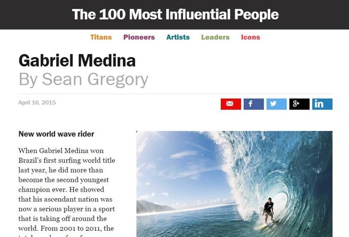 print Gabriel Medina surfe revista Time (Foto: Reprodução revista Time)