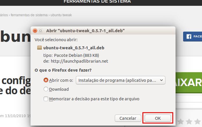 Confirmando o download do Ubuntu Tweak (Foto: Reprodução/Edivaldo Brito) (Foto: Confirmando o download do Ubuntu Tweak (Foto: Reprodução/Edivaldo Brito))