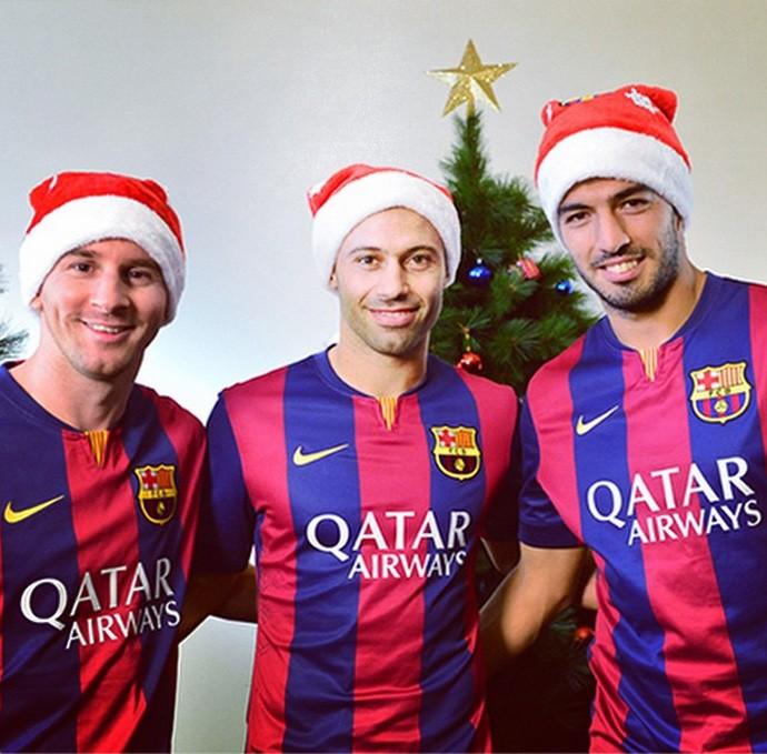 suárez, messi e mascherano natal barcelona