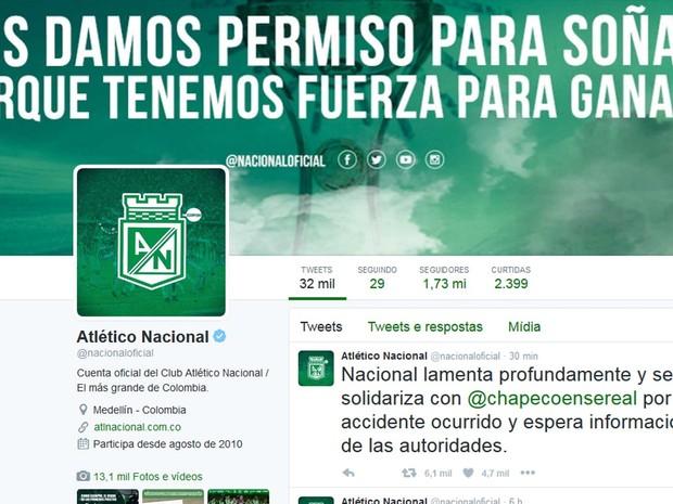 O clube Alético nacional, Colômbia, adversário da Chapecoense na final da Sul-Americana, lamenta acidente com avião que transportava o time brasileiro (Foto: Twitter / Atlético Nacional)