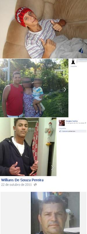 De cima para baixo, os quatro mortos: Tailor, Pablo, Douglas e Willians (Foto: Reprodução / Facebook )