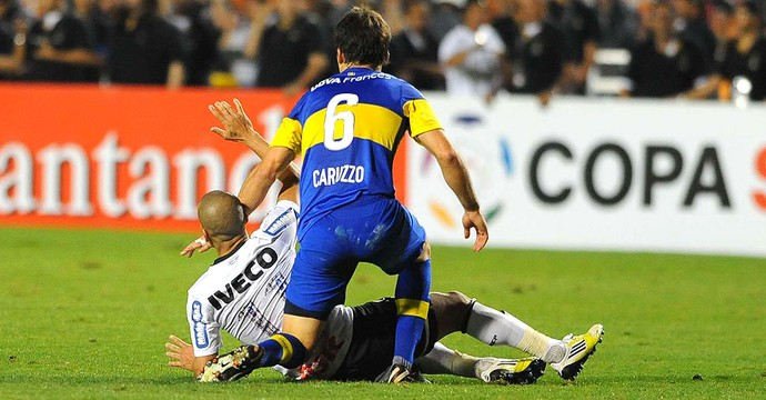 Emerson e Caruzo, Corinthians x Boca Juniors (Foto: Marcos Ribolli  / Globoesporte.com)