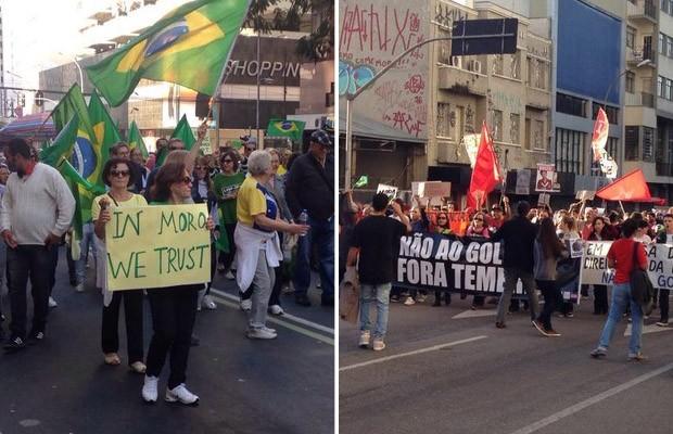 Curitiba teve protestos contra Dilma e contra Temer neste domingo (Foto: Amanda Menezes/RPC e Luiza Vaz/RPC)