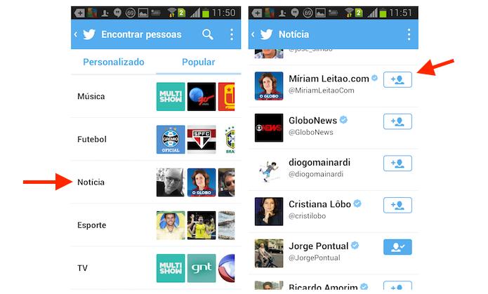 Encontrando e seguindo um perfil de famoso no Twitter para Android (Foto: Reprodução/Marvin Costa)