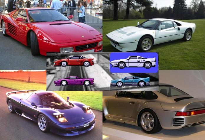 Os carros de Top Gear eram inspirados em sonhos de consumo dos anos 80 e 90 (Montagem / Dario / Fotos: Wikipédia)
