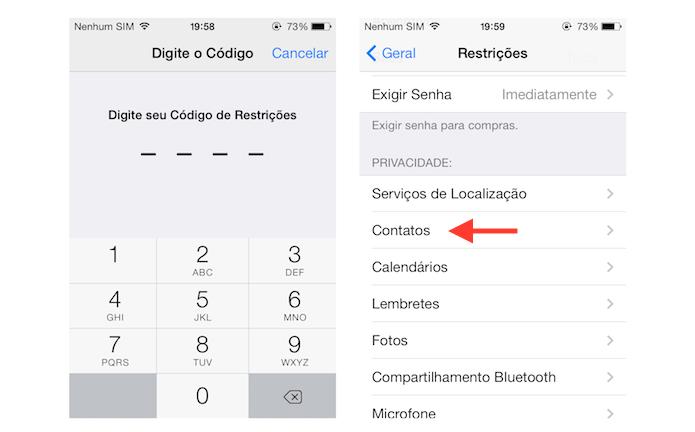 Acessando as opções de contato das restrições do iOS (Foto: Reprodução/Marvin Costa)