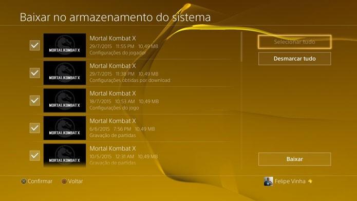 Defina os saves do PS4 que quer baixar (Foto: Reprodução/Felipe Vinha)