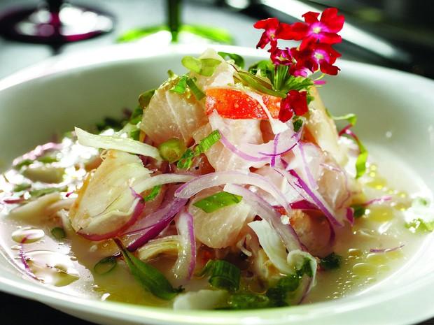 Ceviche Del Pacífico, prato do restaurante Killa que leva lagosta e peixe branco no leche de tigre temperado com abacaxi (Foto: Divulgação)
