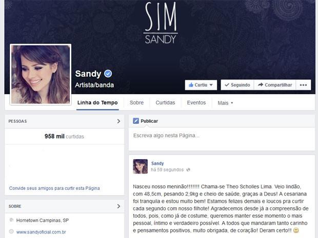 Sandy posta em sua página nas redes sociais o nascimento do primeiro filho, Theo, em Campinas  (Foto: Reprodução / Facebook)