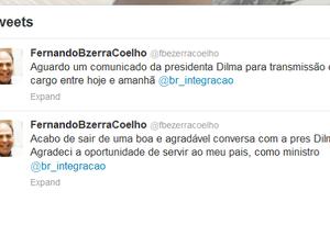 No Twitter, Fernando Bezerra disse que espera comunicado da presidente Dilma Rousseff para transmissão do cargo (Foto: Reprodução/Twitter)