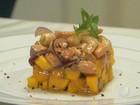 Aprenda a fazer receita de tartar de camarão com salmão e manga