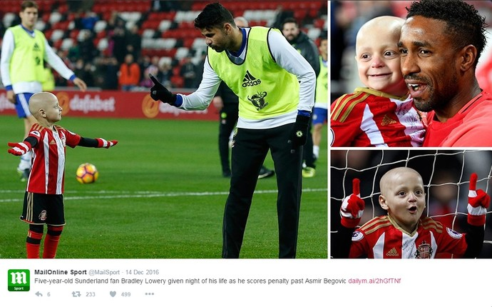 Bradley Lowery torcedor Sunderland gol Diego Costa (Foto: Reprodução/Daily Mirror)