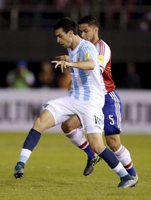 Javier Pastore Paraguai x Argentina eliminatórias (Foto: Reuters)