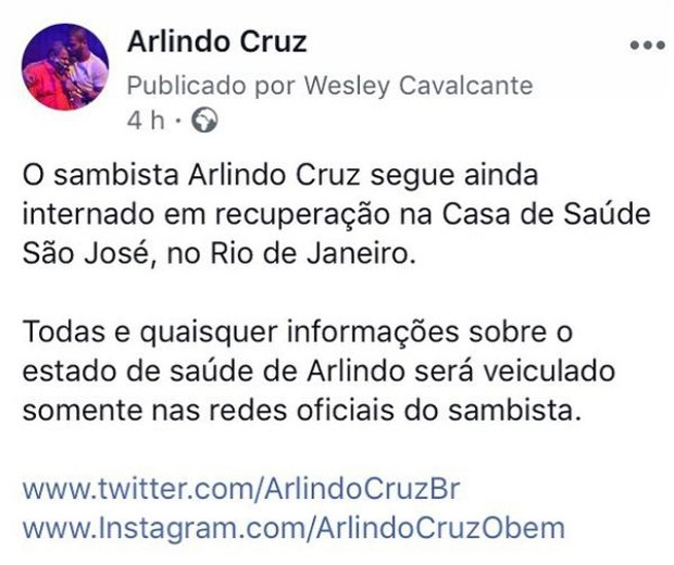Comunicado sobre a saúde de Arlindo Cruz publicado no Instagram (Foto: Reprodução/Instagram)