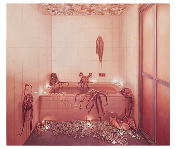Banheiro rosa com polvos, da artista Ana Elisa Egreja (Foto: Divulgação)