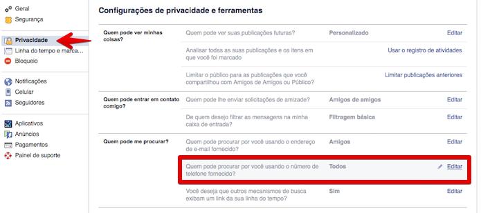 Configurações de privacidade do Facebook (Foto: Reprodução/Helito Bijora)