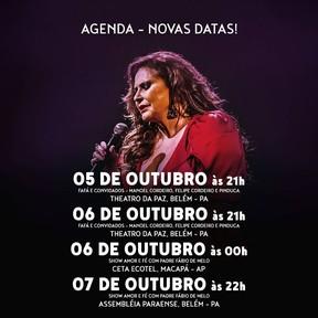 Fafá de Belém anuncia novas datas de shows (Foto: Reprodução / Instagram)