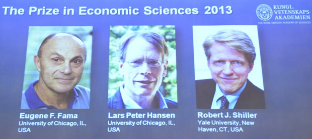 Os três norte-americanos que ganharam o prêmio Nobel de Economia em 2013 (Foto: AFP)