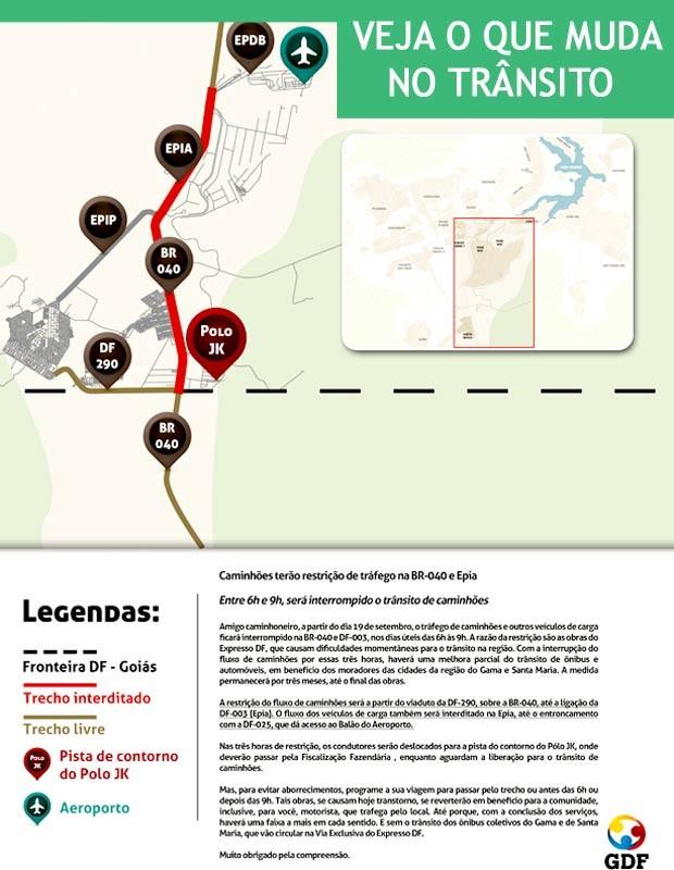 Mapa com mudanças no tráfego de caminhões na Epia Sul em virtude das obras do Expresso DF (Foto: GDF/Divulgação)