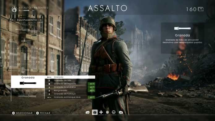 Facas e granadas também podem ser mudadas em Battlefield 1 (Foto: Reprodução/Murilo Molina)