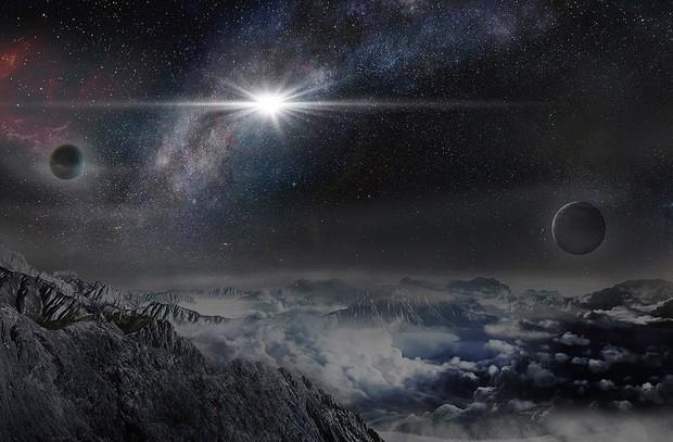 Ilustração mostra como seria explosão ASASSN-15lh vista de planeta a 10 mil anos luz de distância (Foto: Wayne Rosing)