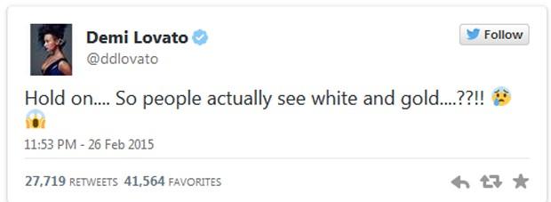 Demi Lovato: 'Espera aí... Então as pessoas enxergam branco e dourado mesmo...?!?!?' (Foto: Reprodução / Twitter)