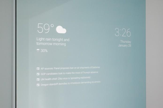 Espelho smart notifica compromissos da agenda (Foto: Divulgação)