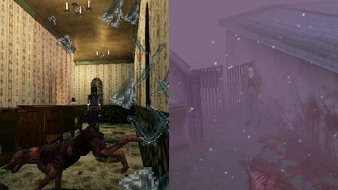 Resident Evil espera você relaxar para assustar enquanto Silent Hill nem sempre assusta, mas não deixa você relaxar (Foto: Reprodução/Game Revolution e Unity Community)