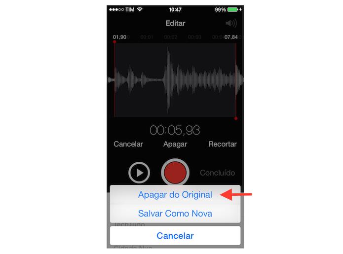 Deletando um trecho de um arquivo de áudio gravado no iOS (Foto: Reprodução/Marvin Costa) (Foto: Deletando um trecho de um arquivo de áudio gravado no iOS (Foto: Reprodução/Marvin Costa))