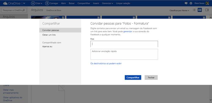 Arquivos do OneDrive pode ser compartilhados com contatos específicos ou através de links (Foto: Reprodução/Elson de Souza)
