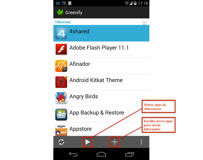 Escolha apps que poderão ser retirados da hibernação (Foto: Reprodução/Thiago Bittencourt) (Foto: Escolha apps que poderão ser retirados da hibernação (Foto: Reprodução/Thiago Bittencourt))